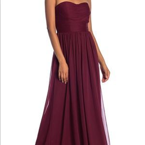 Marina Maroon Strapless Ruched Sweetheart Gown